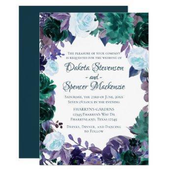 love bloom   teal moody purple dark flora wreath invitation