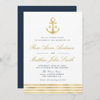 love by the sea gold anchor nautical navy wedding invitation