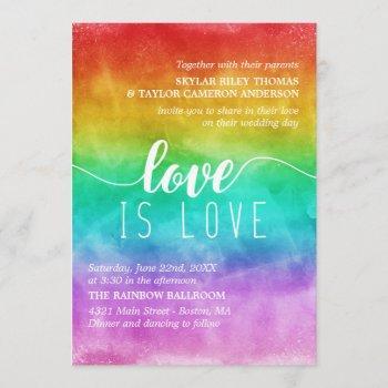 love is love rainbow watercolor gay wedding invitation