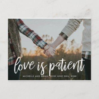 love is patient change the date for wedding announcement postcard