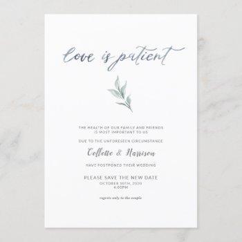 love is patient change the date watercolor vine invitation