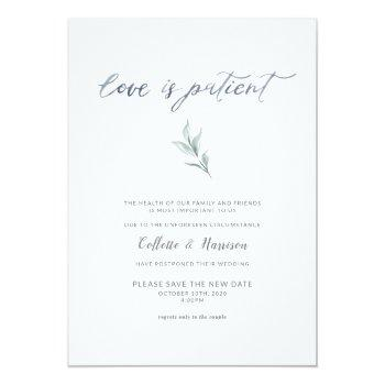 Small Love Is Patient Change The Date Watercolor Vine Invitation Front View