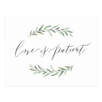 love is patient greenery wedding postponement postcard