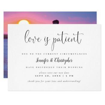 love is patient script photo wedding postponement invitation