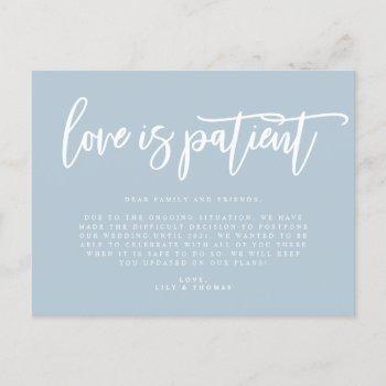 love is patient wedding postponement announcement postcard