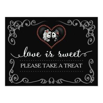 love is sweet take a treat halloween skeleton sign invitation