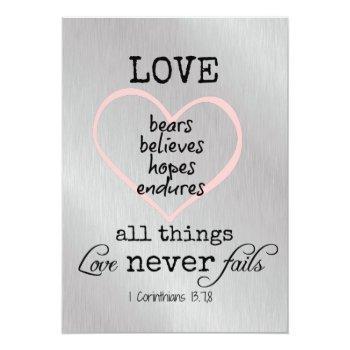 love never fails bible verse wedding invitation