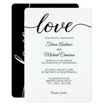 love script wedding typography black and white invitation