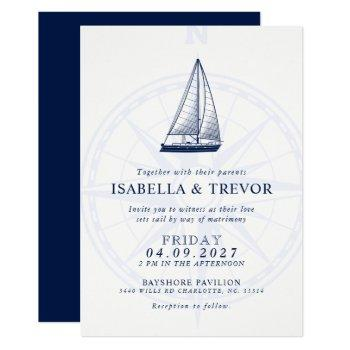 love sets sail | nautical wedding solid navy invitation