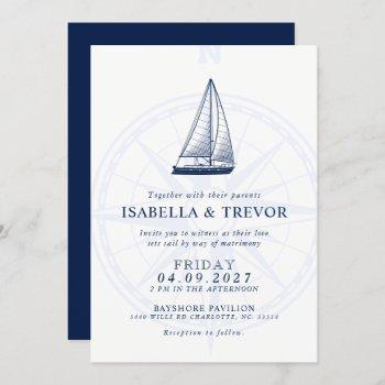 love sets sail   nautical wedding solid navy invitation