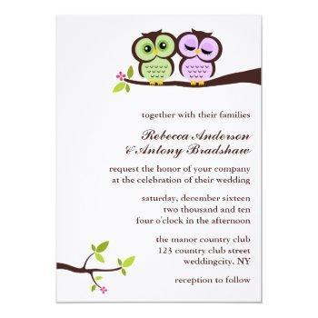 lovely owls custom wedding invitation