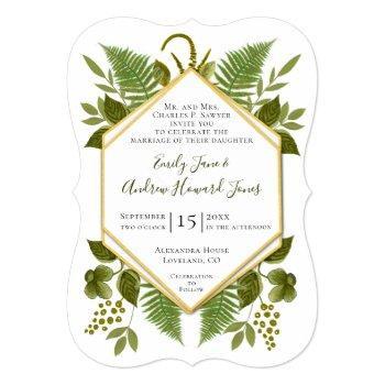 lucky in love 4 leaf clover fern geometric wedding invitation