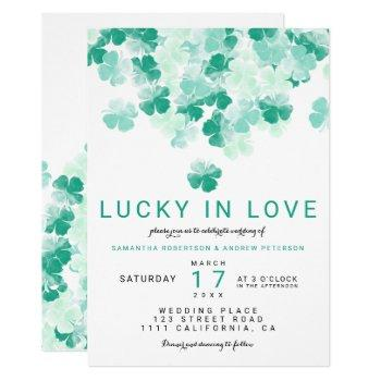lucky in love green clover st patrick chic wedding invitation