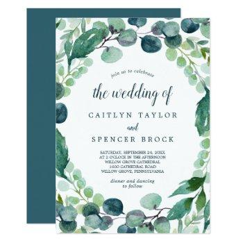lush greenery and eucalyptus all in one wedding invitation