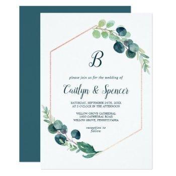 lush greenery rose gold geometric monogram wedding invitation