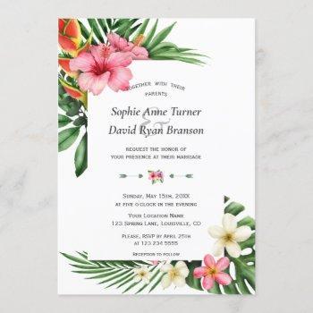 lush tropical garden flowers bloom wedding invitation