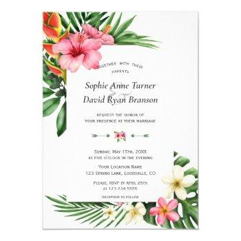 lush tropical garden flowers bloom wedding invitation