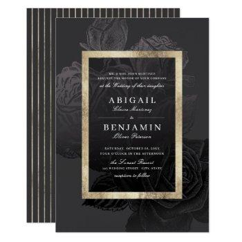 luxe rose black gold vintage botanical wedding invitation