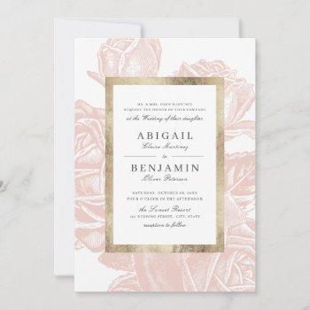 luxe rose blush gold vintage botanical wedding invitation