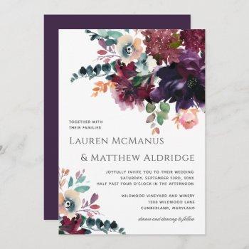 luxurious dark purple watercolor bouquet wedding invitation