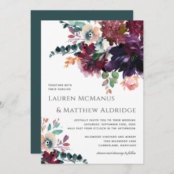 luxurious dark wine watercolor bouquet wedding invitation