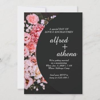 luxurious pinky flowers package wedding invitation