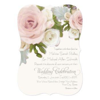 luxurious romantic floral wedding rose succulents invitation
