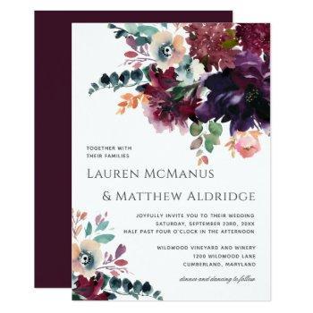 luxurious wine elegant watercolor bouquet wedding invitation