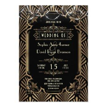 luxury art deco black gatsby 20s style wedding invitation