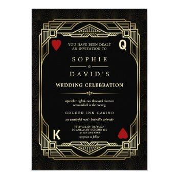 luxury gatsby casino las vegas poker wedding invitation