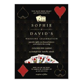 Small Luxury Gatsby Casino Vegas Poker Wedding Invitation Front View