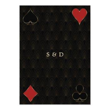 Small Luxury Gatsby Casino Vegas Poker Wedding Invitation Back View
