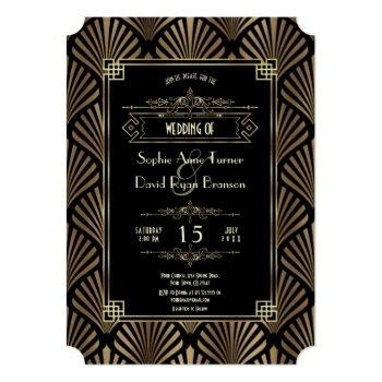 luxury gold art deco great gatsby 1920s wedding invitation