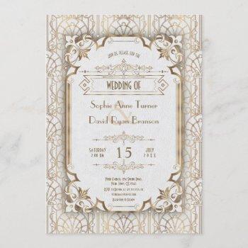 luxury gold art deco great gatsby 20s wedding invitation