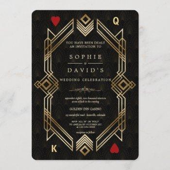 luxury great gatsby casino las vegas poker wedding invitation