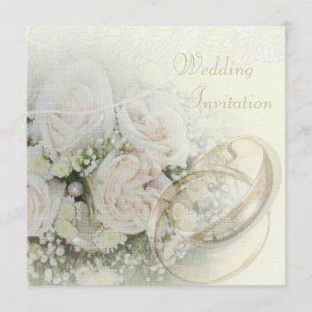 luxury linen wedding bands, roses, doves & lace invitation