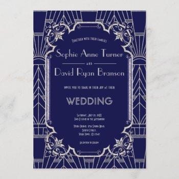 luxury silver navy blue great gatsby 20s wedding invitation