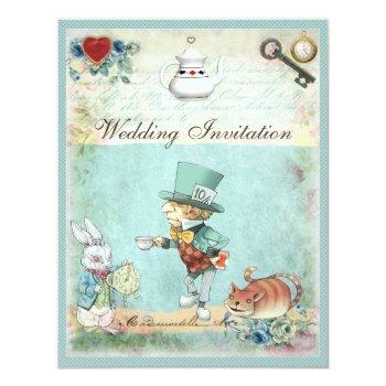 mad hatter wonderland wedding invitation