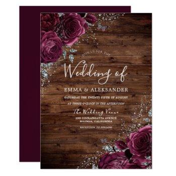 magical burgundy roses rustic wood wedding invitation