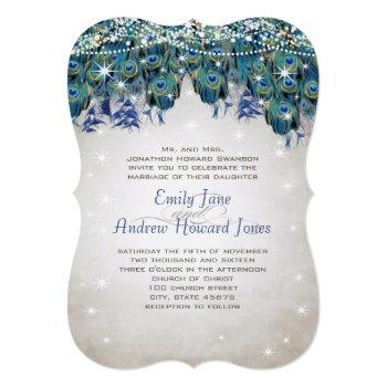 magical fairy tale lights navy turquoise peacock invitation