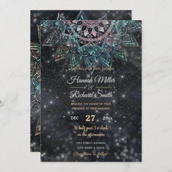 magical holographic mandala glitter sparks design invitation