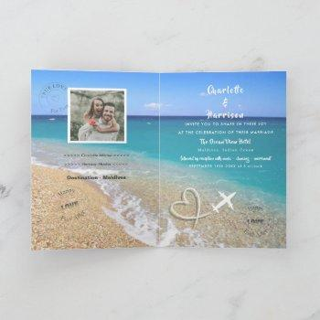 maldives wedding destination passport invitation