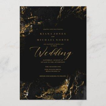 marble glitter wedding black gold id644 invitation