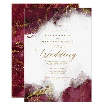 marble glitter wedding burgundy gold id644 invitation