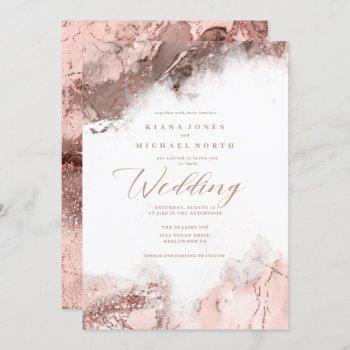 marble glitter wedding rose gold id644 invitation