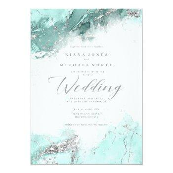 Small Marble Glitter Wedding Teal Silver Id644 Invitation Front View