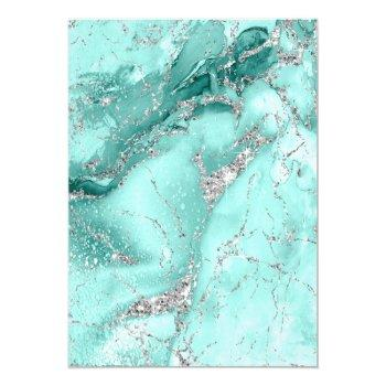 Small Marble Glitter Wedding Teal Silver Id644 Invitation Back View