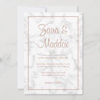 marble rose gold script modern elegant wedding invitation