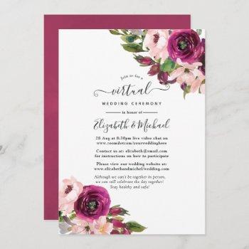 marsala and blush floral online virtual wedding invitation