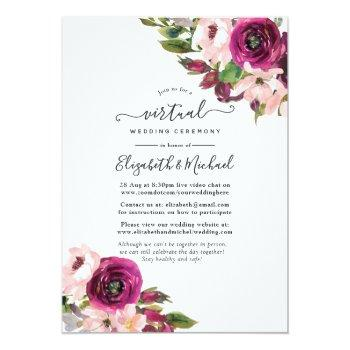 Small Marsala And Blush Floral Online Virtual Wedding Invitation Front View